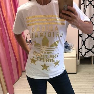 adidas Tops - Adidas White  metallic gold lettering T-shirt S